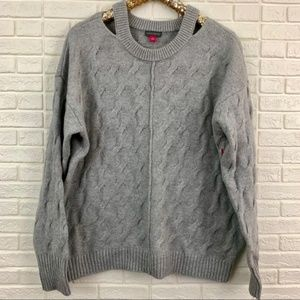 Vince Camuto cutout oversized cable knit sweater